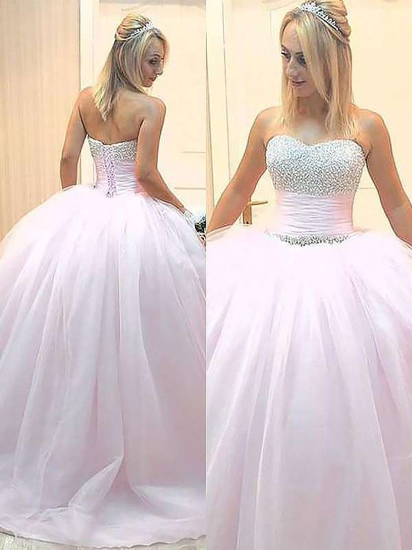 Ball Gown Tulle Sweetheart Floor-Length Pink Prom Dresses