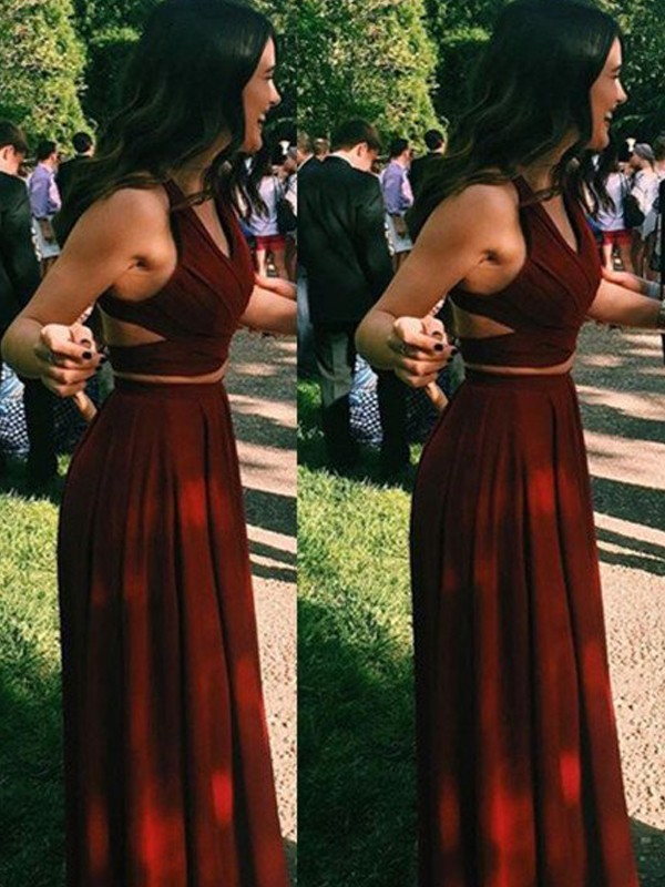 A-Line Halter Floor-Length Burgundy Prom Dresses