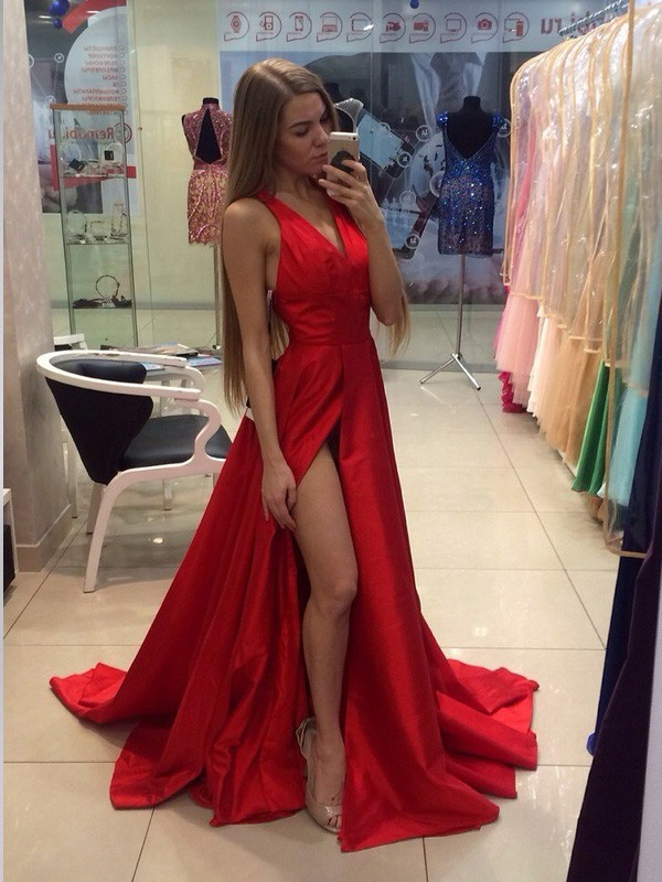 A-Line Halter Brush Train Red Prom Dresses