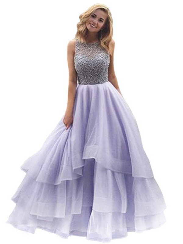 Ball Gown Organza Scoop Floor-Length Prom Dresses with Beading