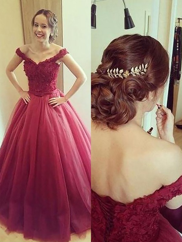 Ball Gown Off-the-Shoulder Court Train Burgundy Prom Dresses with Applique
