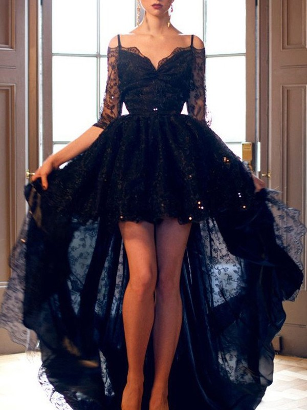Spaghetti Straps Sweep/Brush Train Black Prom Dresses with Lace