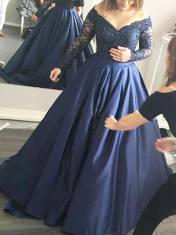 Satin Long Sleeves Off-the-Shoulder Brush Train Dark Navy Prom Dresses