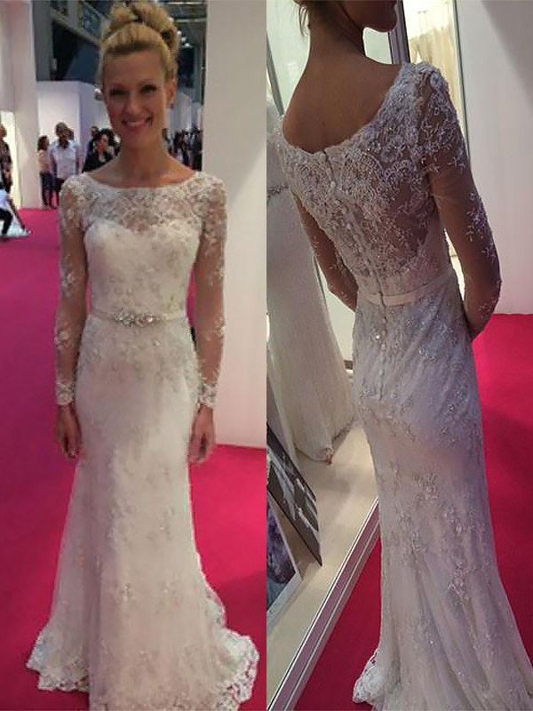 Sheath Chiffon Long Sleeves Scoop Brush Train Wedding Dresses with Lace