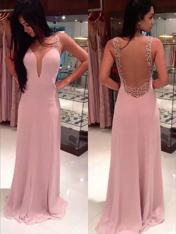 A-Line Straps Floor-Length Pearl Pink Prom Dresses