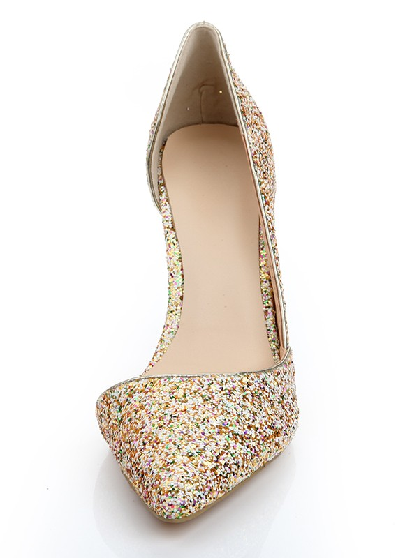 Patent Leather Closed Toe Stiletto Heel With Sequin High Heels