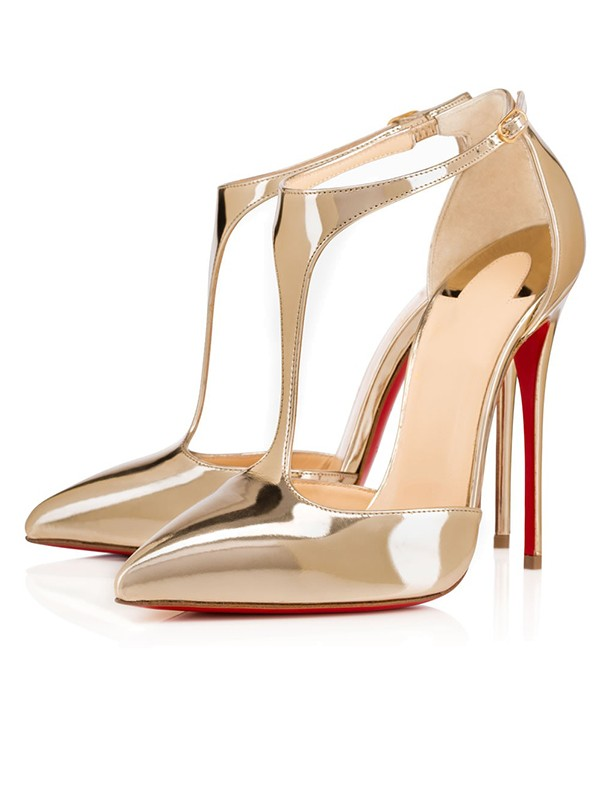 Patent Leather Closed Toe Stiletto Heel Gold Sandals Shoes