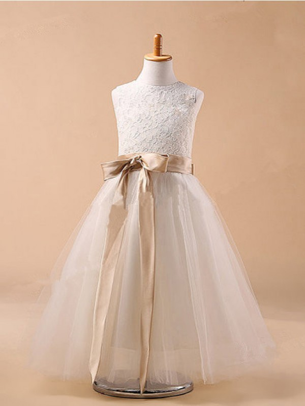 Jewel Ankle-Length White Flower Girl Dresses with Bowknot