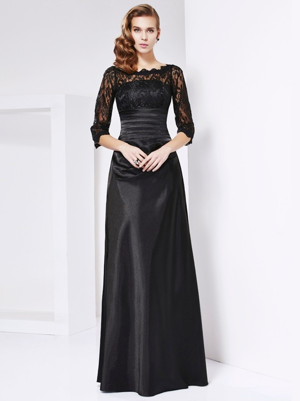 Black Off-the-Shoulder Elastic Woven Satin Floor-Length Prom Dresses