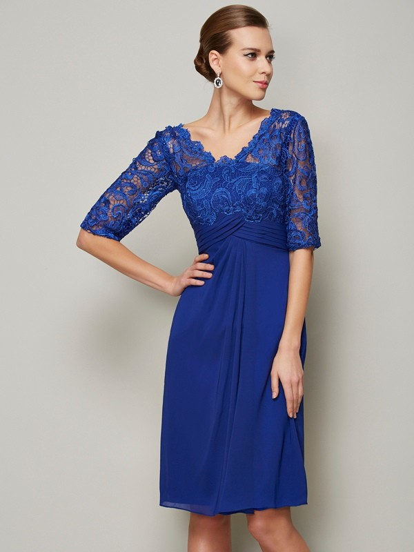 Chiffon Half Sleeves V-neck Knee-Length Mother of the Bride Dresses with Lace