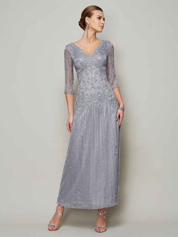 Silver V-neck Ankle-Length Mother of the Bride Dresses with Beading