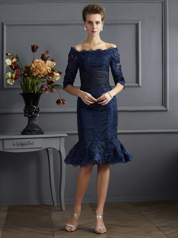 Taffeta 3/4 Sleeves Off-the-Shoulder Knee-Length Royal Blue Prom Dresses