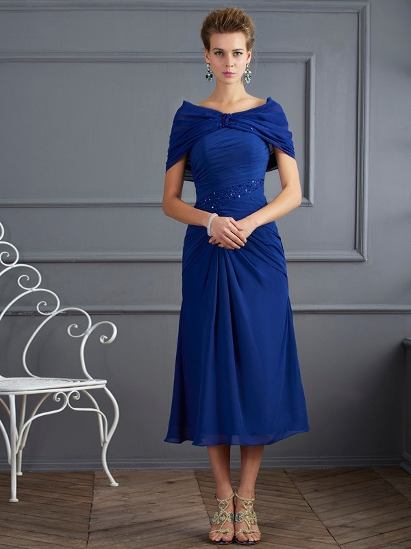 Short Sleeves Scoop Royal Blue Homecoming Dresses with Beading