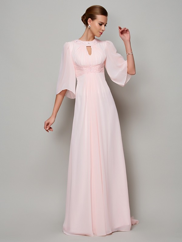 Chiffon A-Line Brush Train Half Sleeves High Neck Pearl Pink Prom Dresses