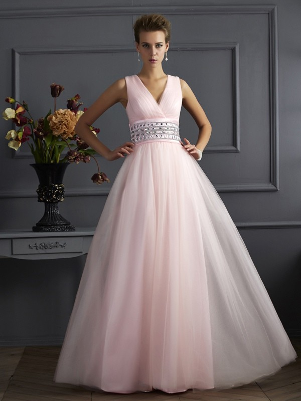 V-neck Floor-Length Pearl Pink Prom Dresses with Beading