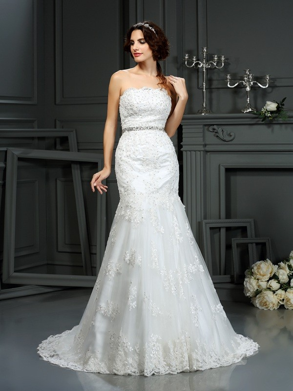 Mermaid Strapless Court Train Ivory Wedding Dresses with Beading