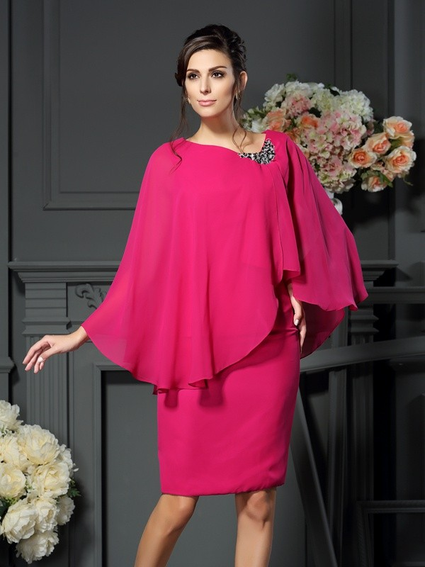 Scoop Knee-Length Fuchsia Mother of the Bride Dresses with Beading