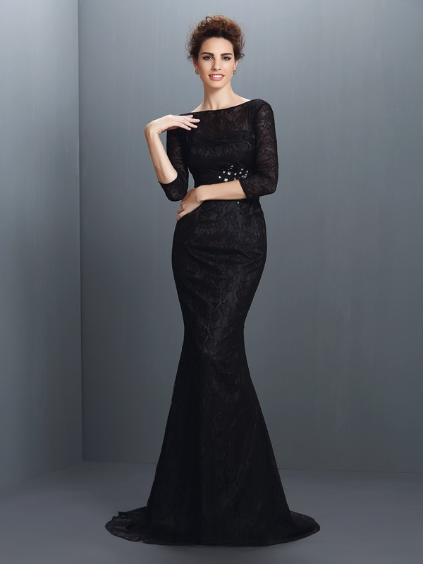 Mermaid Bateau Brush Train Black Prom Dresses with Lace