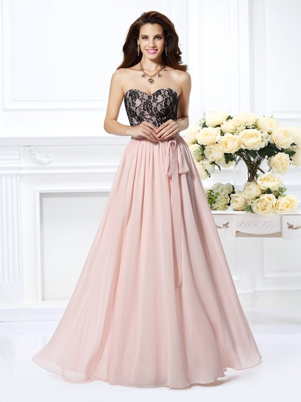 A-Line Chiffon Sweetheart Floor-Length Prom Dresses with Lace