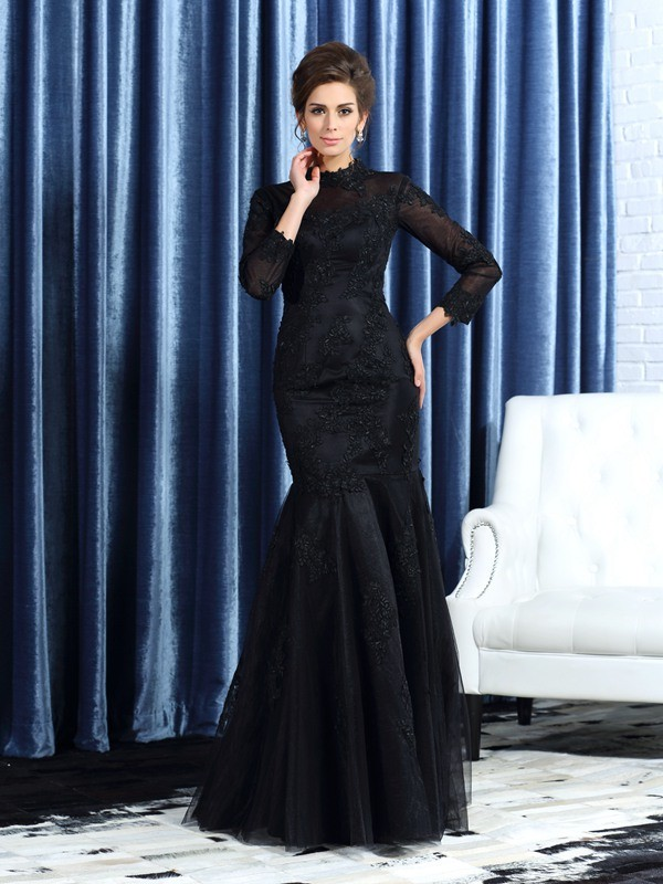 Mermaid High Neck Floor-Length Black Mother of the Bride Dresses with Applique