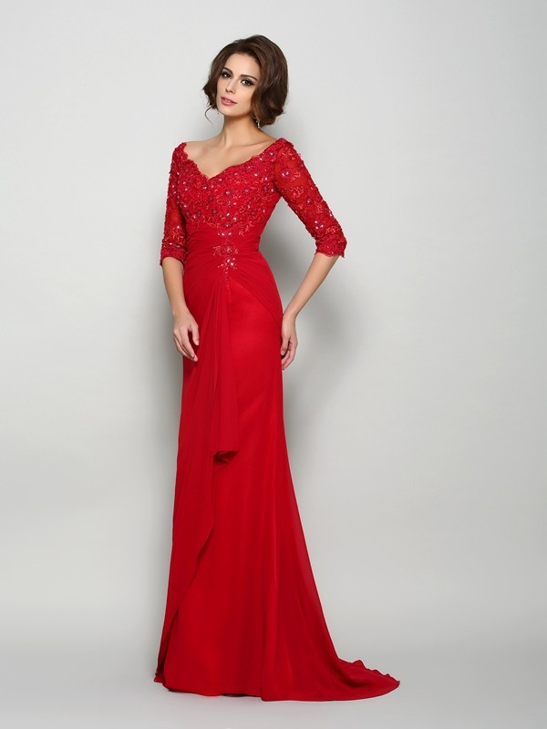Red V-neck Chiffon Brush Train Mother of the Bride Dresses
