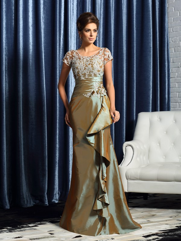 Mermaid Brush Train Brown Mother of the Bride Dresses with Beading