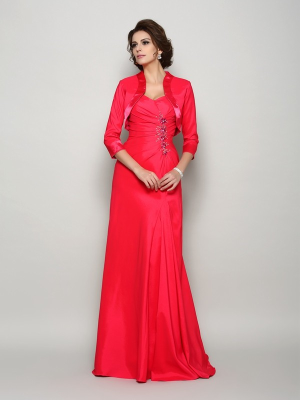 Elastic Woven Satin Straps Brush Train Red Mother of the Bride Dresses