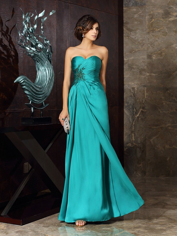 Floor-Length Dark Green Mother of the Bride Dresses with Beading