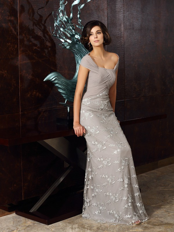 Off-the-Shoulder Floor-Length Grey Mother of the Bride Dresses