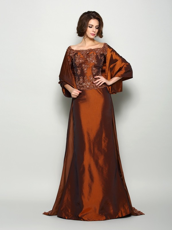 Taffeta Off-the-Shoulder Brush Train Chocolate Mother of the Bride Dresses