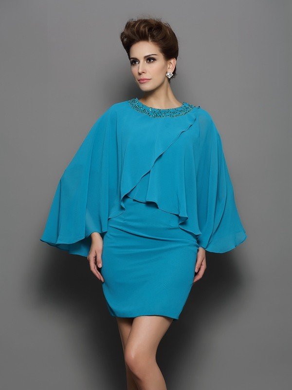 Long Sleeves Sheath Scoop Short/Mini Green Mother of the Bride Dresses