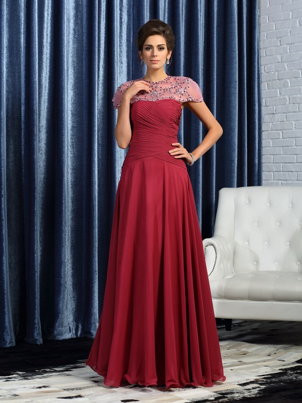 Chiffon Sweetheart Floor-Length Burgundy Mother of the Bride Dresses