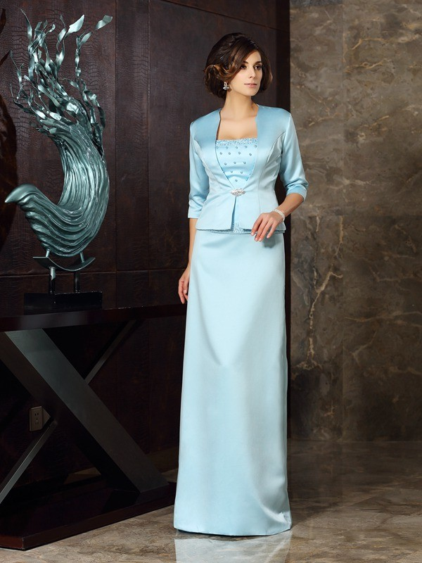 Sheath Strapless Floor-Length Blue Mother of the Bride Dresses