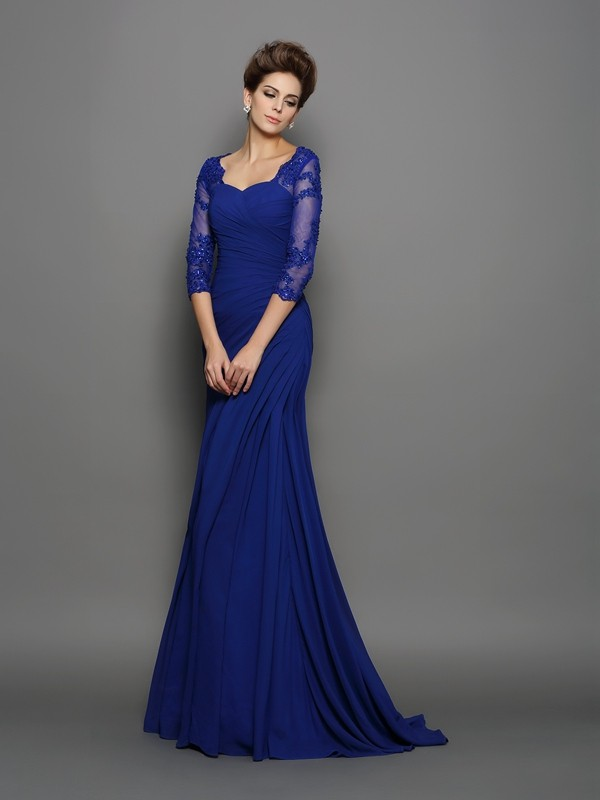 3/4 Sleeves Brush Train Royal Blue Mother of the Bride Dresses