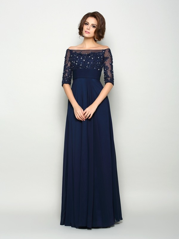 Half Sleeves Off-the-Shoulder Floor-Length Dark Navy Mother of the Bride Dresses