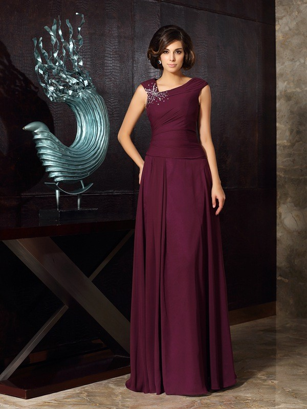 Chiffon Floor-Length Other Grape Mother of the Bride Dresses