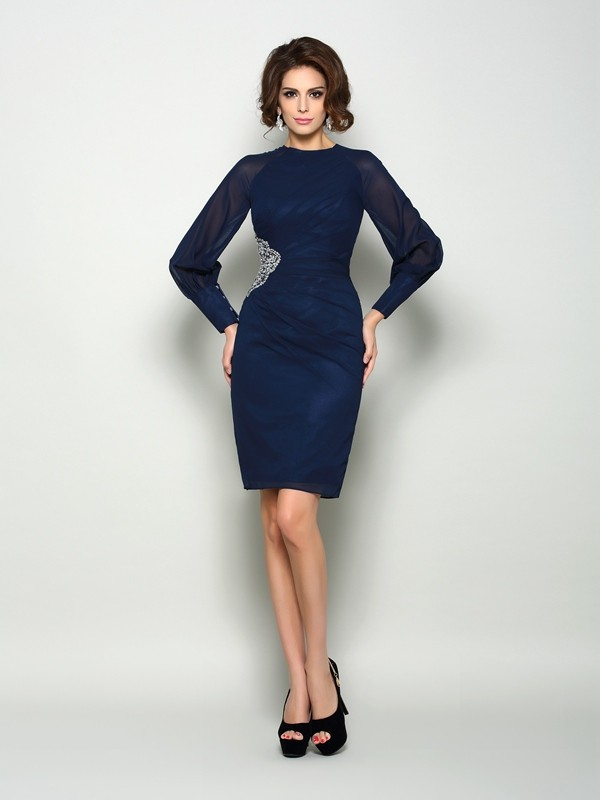 High Neck Knee-Length Dark Navy Mother of the Bride Dresses with Beading