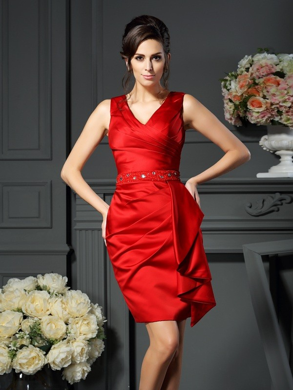 Red Sheath V-neck Knee-Length Mother of the Bride Dresses with Ruched