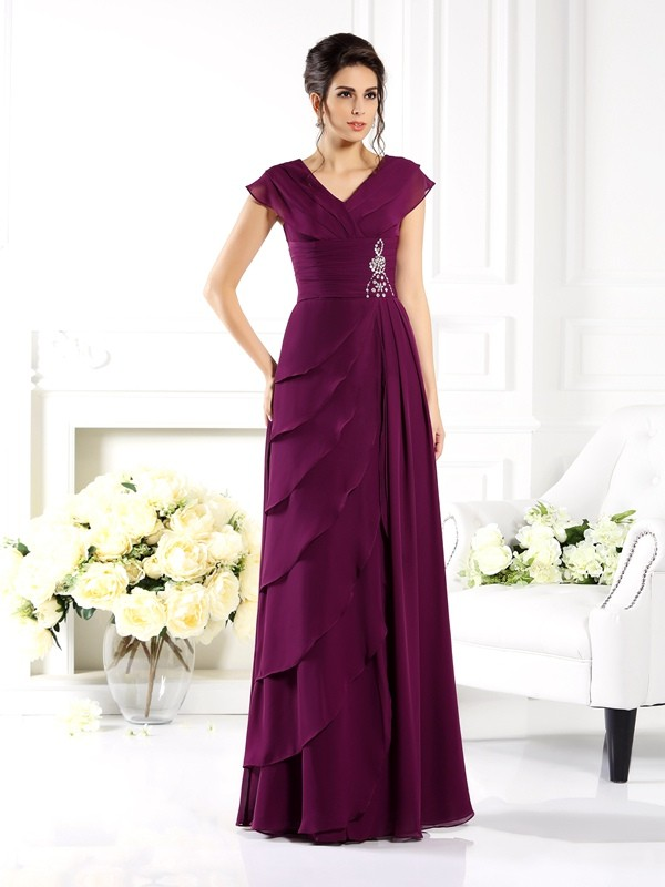 Regency V-neck Chiffon Floor-Length Mother of the Bride Dresses