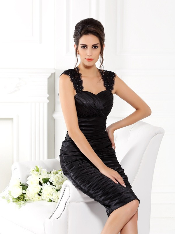Sheath Straps Knee-Length Black Mother of the Bride Dresses