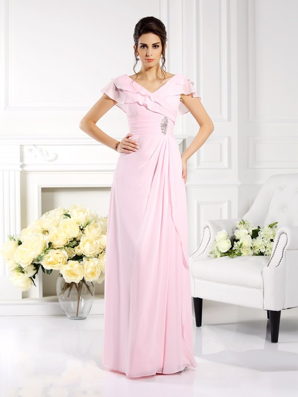 Short Sleeves V-neck Floor-Length Pink Mother of the Bride Dresses