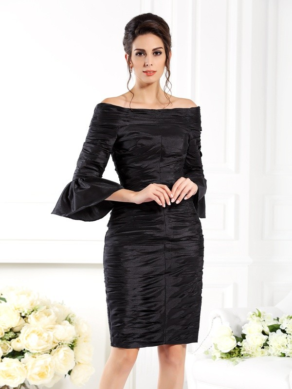 Half Sleeves Off-the-Shoulder Short/Mini Black Mother of the Bride Dresses with Ruched
