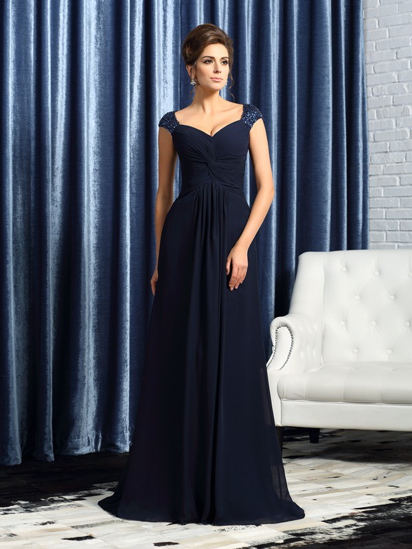 Straps Brush Train Dark Navy Mother of the Bride Dresses with Beading
