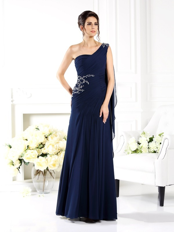 One-Shoulder Floor-Length Dark Navy Mother of the Bride Dresses