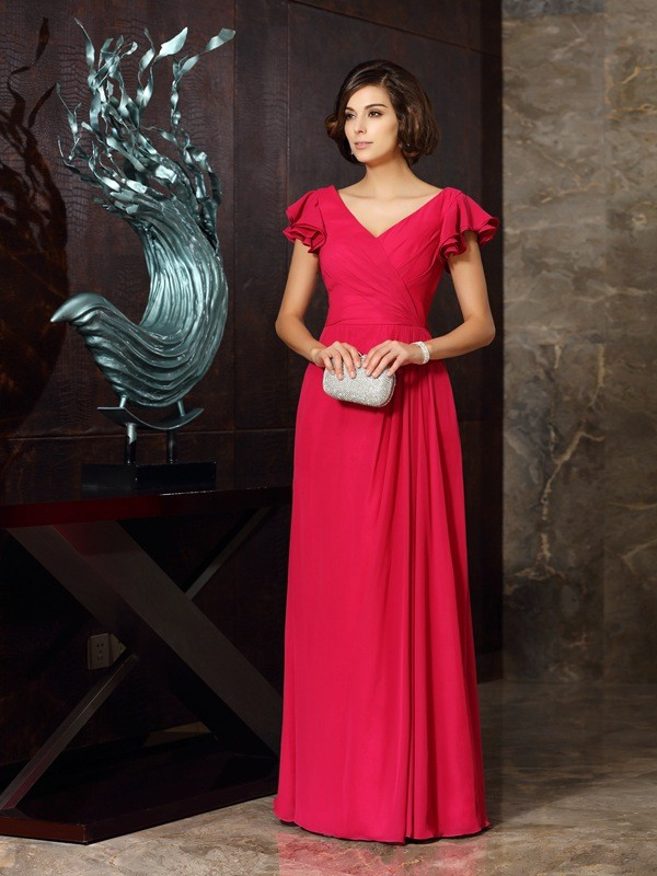 V-neck Floor-Length Red Mother of the Bride Dresses with Ruched