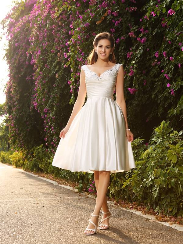 Ivory V-neck Satin Knee-Length Wedding Dresses