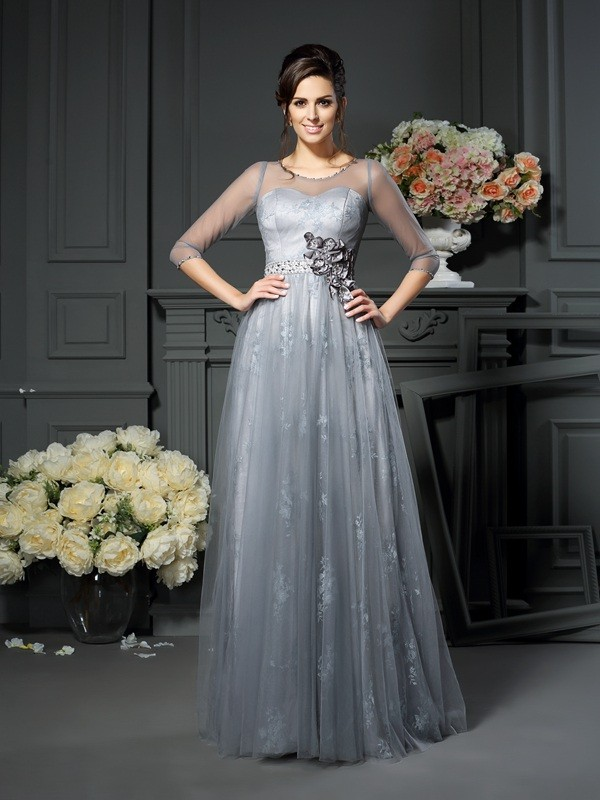 Half Sleeves Scoop Floor-Length Silver Mother of the Bride Dresses with Lace