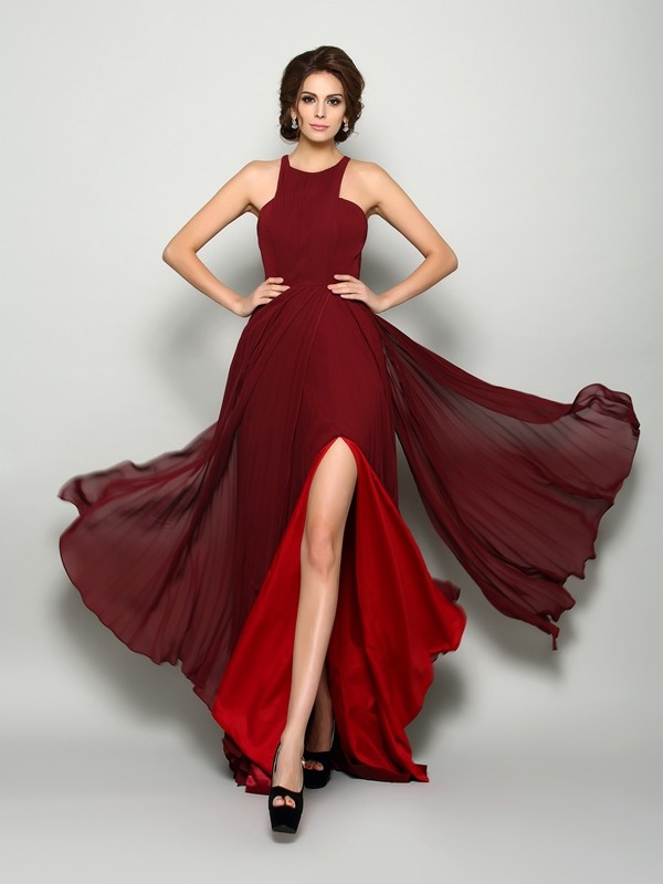Chiffon High Neck Brush Train Burgundy Mother of the Bride Dresses
