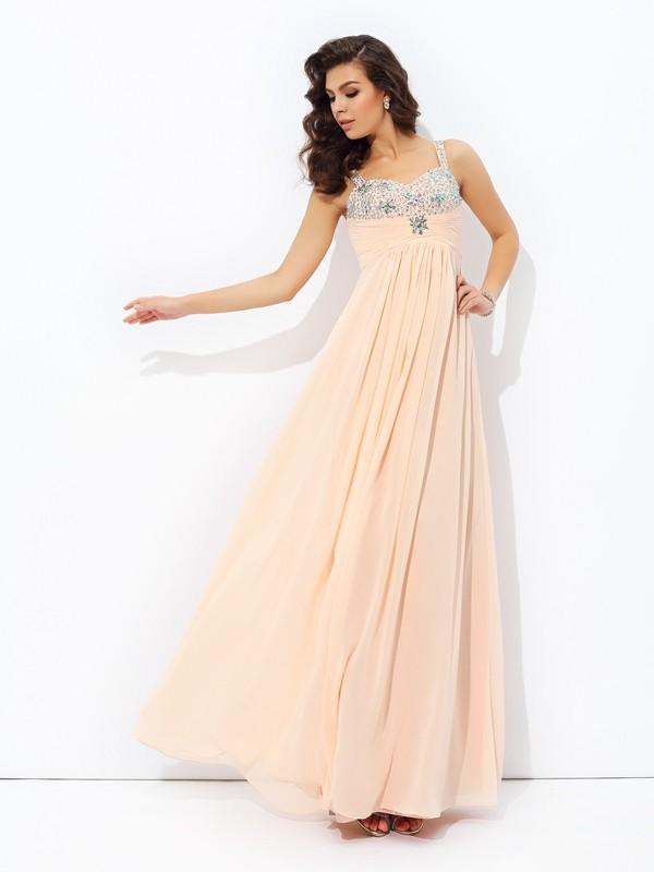 A-Line Chiffon Spaghetti Straps Floor-Length Prom Dresses with Beading