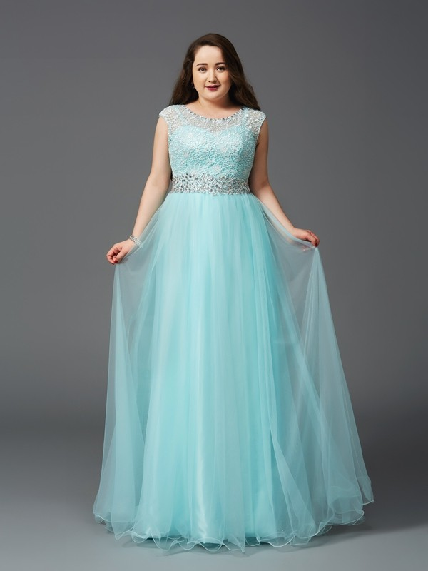 A-Line Elastic Woven Satin Scoop Floor-Length Light Sky Blue Prom Dresses